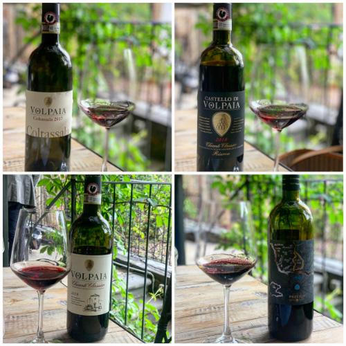 Alcuni vini in degustazione presso la cantina Volpaia nel Chianti Classico