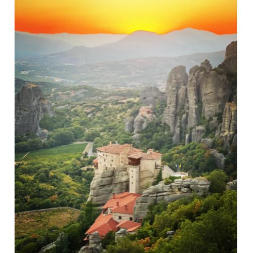 Monastero di Roussànou al tramonto